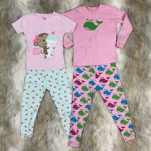 5T & 3T Monkey with Ice Cream & Whale PJ Sets